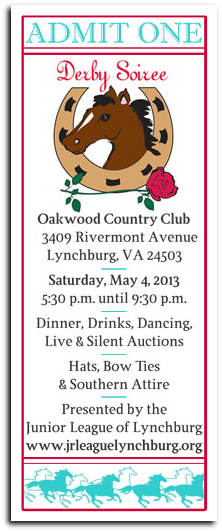x130504 Junior League of Lynchburg: 4th ANNUAL DERBY DAY SOIREE